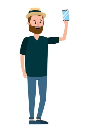 young man holding technology smartphone device cartoon vector illustration graphic design Фото со стока - 130135081