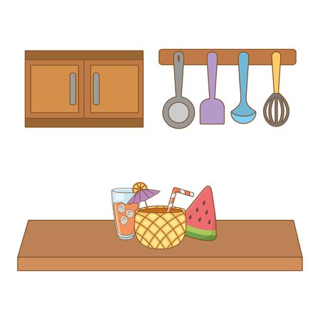 kitchen cookware with cold drinks and watermelon kitchen cartoon vector illustration editable design