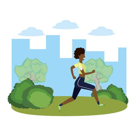 fitness sport train woman running outdoor scene cartoon vector illustration graphic design Ilustração