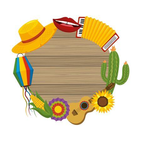 wooden sign frame festa junina cartoon vector illustration graphic design Illusztráció