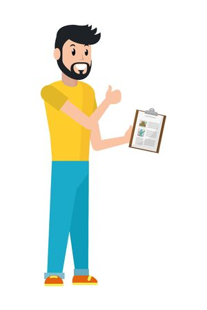 young man with checklist vector illustration graphic design Ilustracja