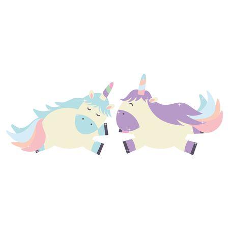 cute adorable unicorns fairy characters vector illustration design