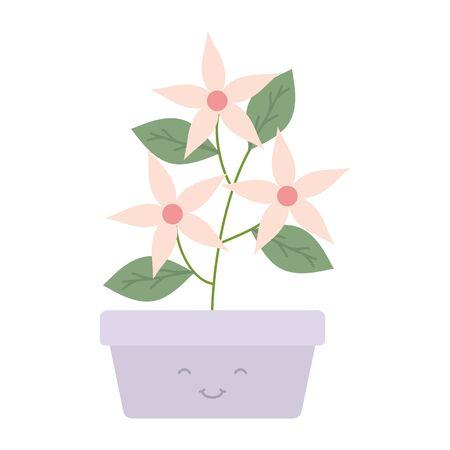 garden flowers plant in square pot kawaii character vector illustration design
