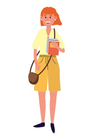 young people woman wearing handbag cartoon vector illustration graphic design Фото со стока - 130150586