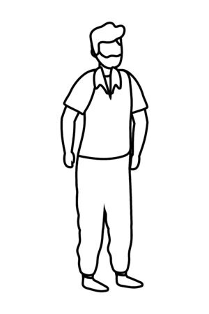 young man cartoon vector illustration graphic design 스톡 콘텐츠 - 130150631