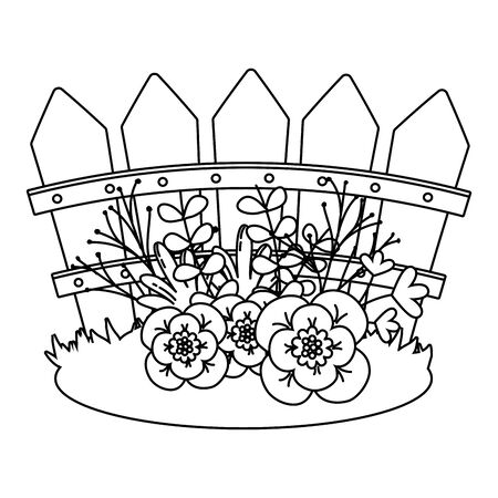 floral nature flowers garden in front wooden fence cartoon vector illustration graphic design