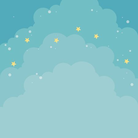 Cloud and stars design, Weather sky nature climate cloudy season and meteorology theme Vector illustration
