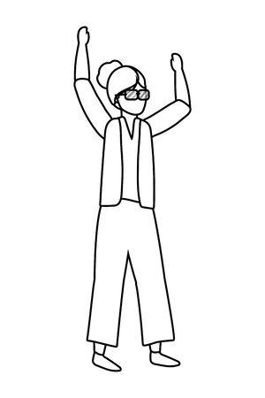 human old woman body raised hands cartoon vector illustration graphic design Фото со стока - 130150533
