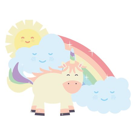 cute unicorn in rainbow with clouds and sun kawaii characters vector illustration