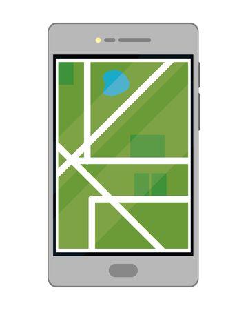 cellphone with map isolated vector illustration graphic design Illusztráció
