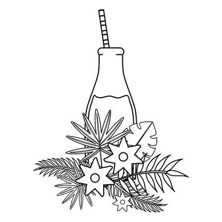 fresh juice fruit in botttle with straw in floral decoration vector illustration design Çizim