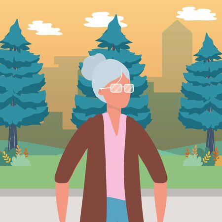 causal people old woman outdoor scene cartoon vector illustration graphic design Ilustração