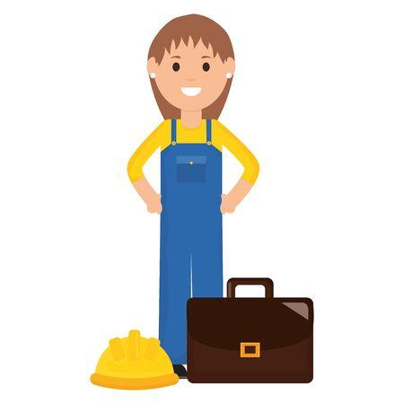 female builder worker with helmet and portfolio vector illustration design