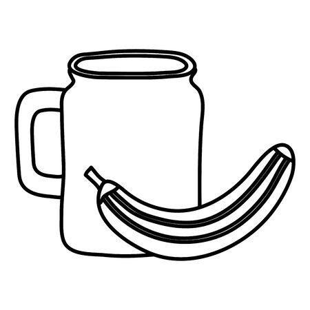 fresh banana fruit with beverage jar vector illustration design