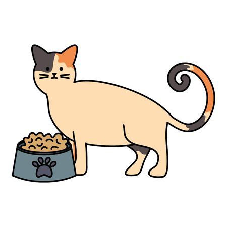 cute cat mascot with dish food Illustration