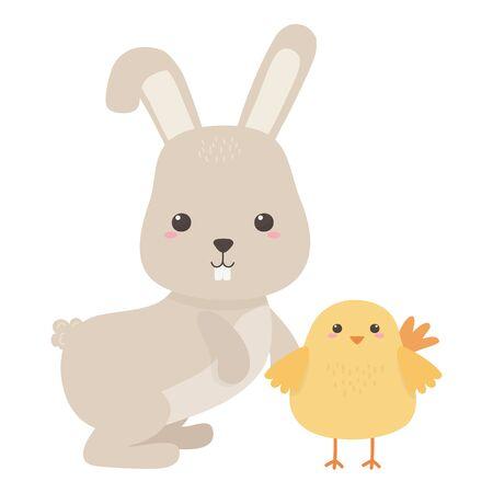 Rabbit and chicken cartoon design, Animal cute zoo life nature and fauna theme Vector illustration Illusztráció