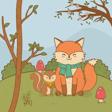 cute fox woodland character vector illustration design