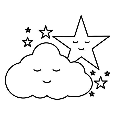 cute cloud and stars kawaii comic characters vector illustration design