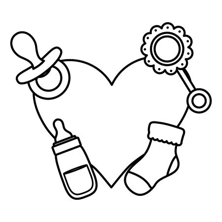 heart love with set accessories vector illustration design