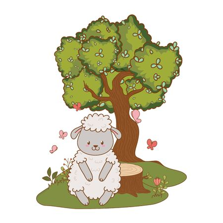 cute little animal sheep at nature park cartoon vector illustration graphic design
