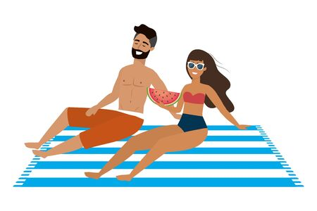 Boy and girl with swimwear design, man woman summer beach vacation and travel theme Vector illustration