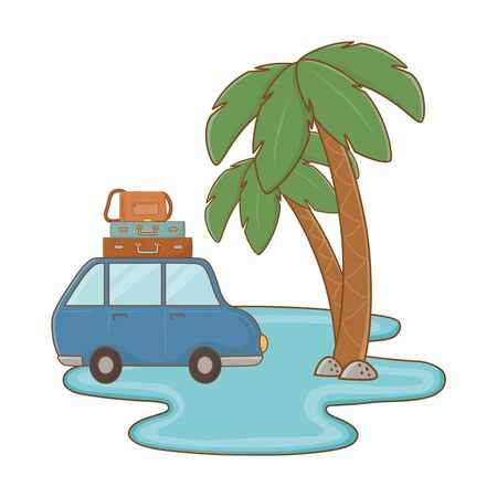 Tourist trip summer travel water car with luggage on top and palm tree adventure exploration vector illustration graphic design