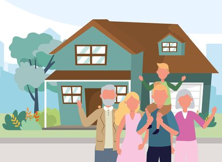 casual happy people family in front urban house home cartoon vector illustration graphic design