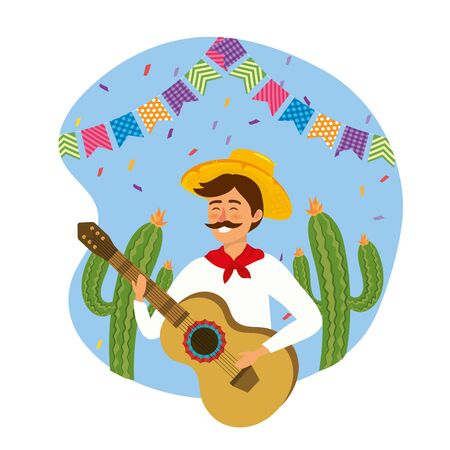 man wearing hat with guitar and cactus plants vector illustration Иллюстрация