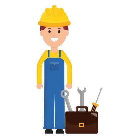 builder worker with helmet and toolbox vector illustration design