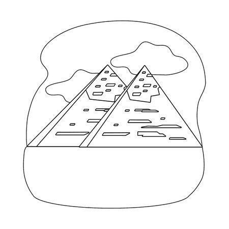 Isolated egyptian pyramids landmark design Stock Illustratie