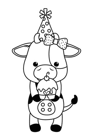 Cow cartoon design, Animal happy birthday celebration decoration and surprise theme Vector illustration
