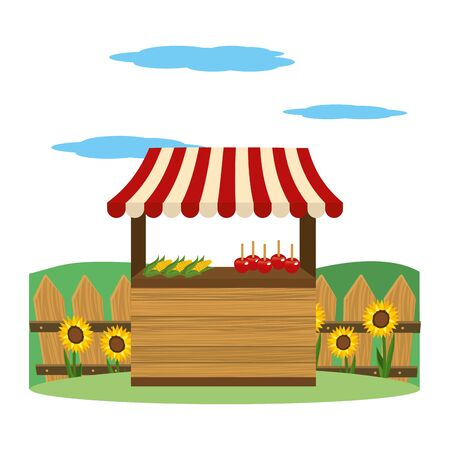 wooden market stall farm scene festive cartoon vector illustration graphic design