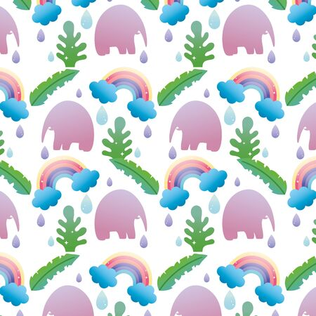 elephant with leaves and rainbow cloud background vector illustration