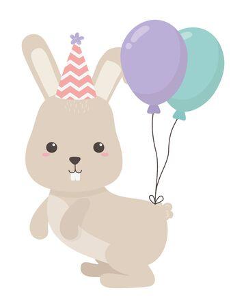 Rabbit cartoon design, Animal happy birthday celebration decoration and surprise theme Vector illustration