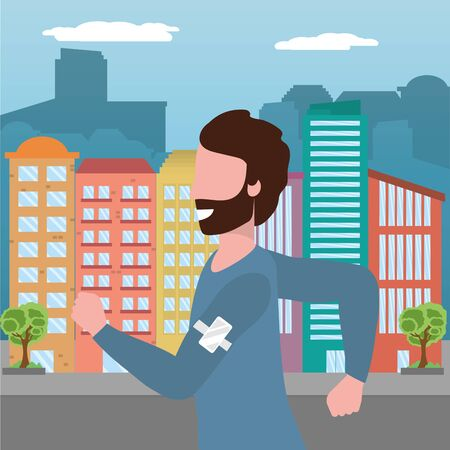 fitness sport train man running at urban scene cartoon vector illustration graphic design Фото со стока - 130181521