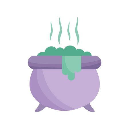 cauldron with potion icon trick or treat happy halloween vector illustration