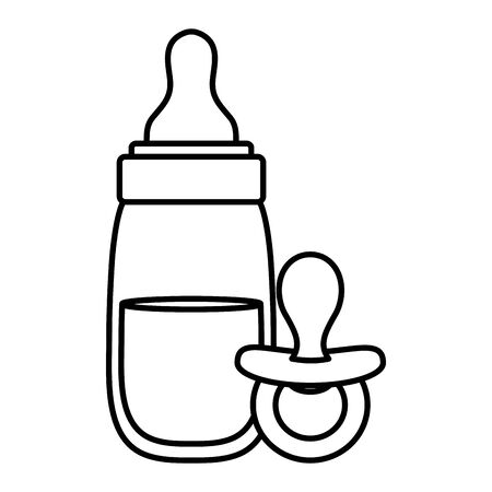 baby bottle milk with pacifier