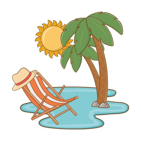 Tourist trip summer travel beach chair sun palm trees on water adventure exploration vector illustration graphic design