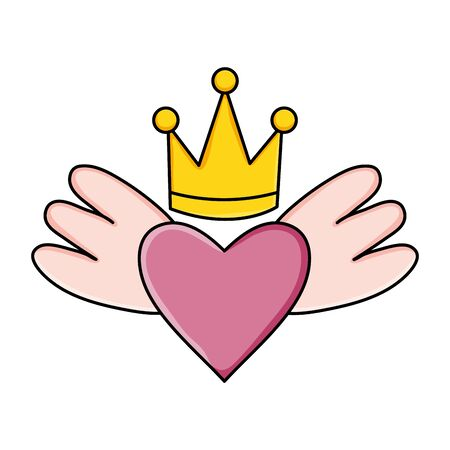heart love with wings and crown pop art style Çizim