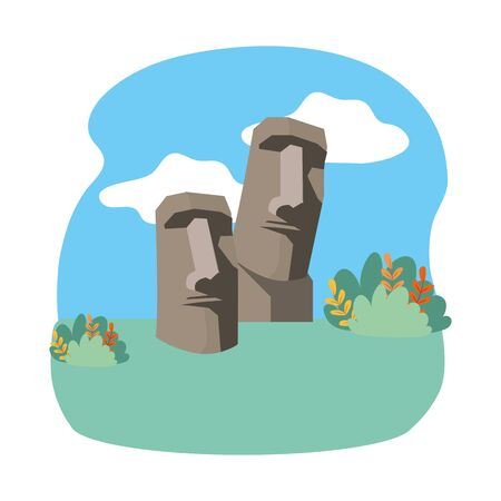 Moai statue of easter island design Illustration
