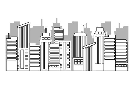 Isolated city and buildings design Illustration