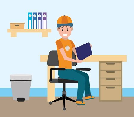 young man sitting on the chair at office using technology device cartoon vector illustration graphic design Illustration