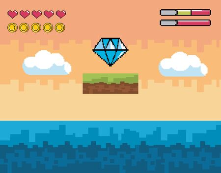 videogame scene with pixelated diamond and water with life bars Иллюстрация