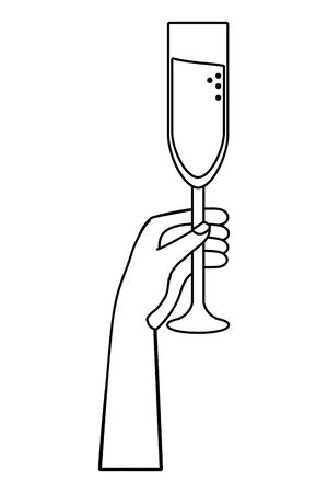 Isolated champagne cup design vector illustrator Çizim
