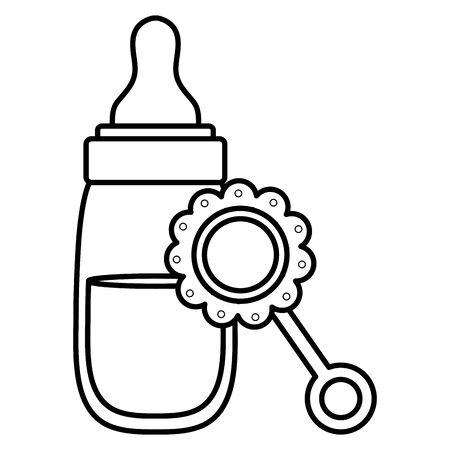 baby bottle milk with maraca
