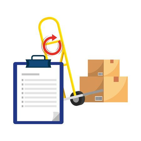 pushcart with box and a checklist with a return arrow vector illustration graphic design