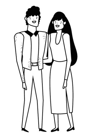 Couple of woman and man cartoon design, Relationship love romance holiday and together theme Vector illustration
