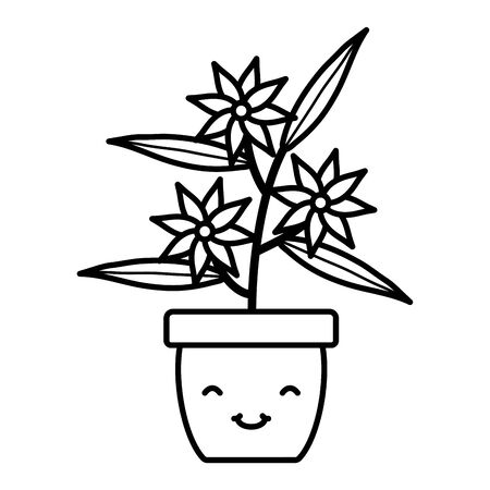 garden flowers plant in pot kawaii character Çizim