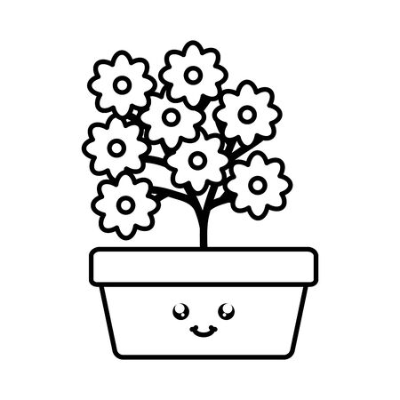 garden flowers plant in square pot kawaii character Çizim