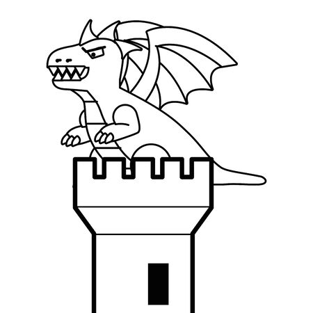 Castle tower and dragon design vector illustration